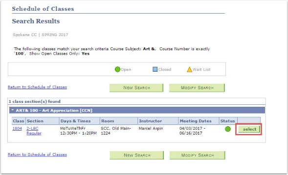 Schedule of Classes page