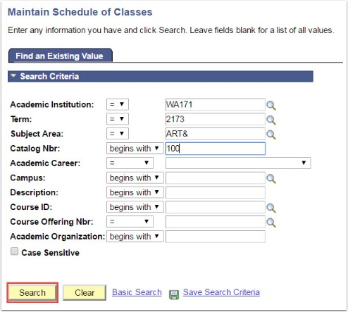 Maintain Schedule of Classes Search Criteria page
