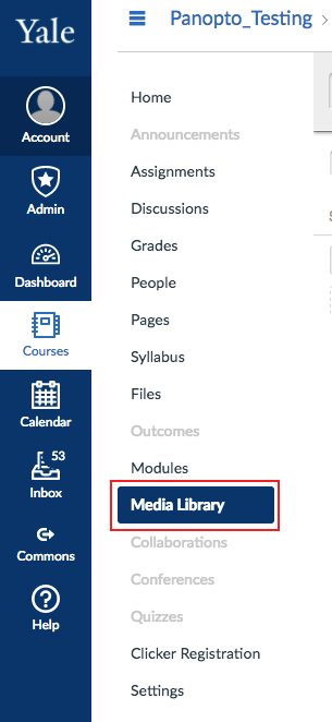 image showing media library selected within a canvas course