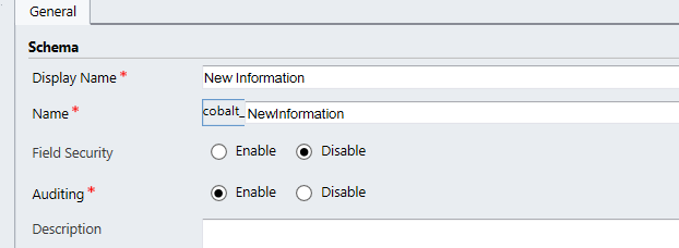 Give your field a Display Name and then click anywhere else on the form to automatically fill in the Name field.