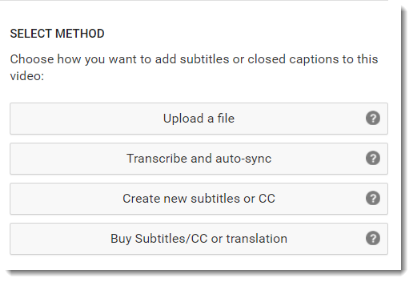 Select a method for creating or adding captions.