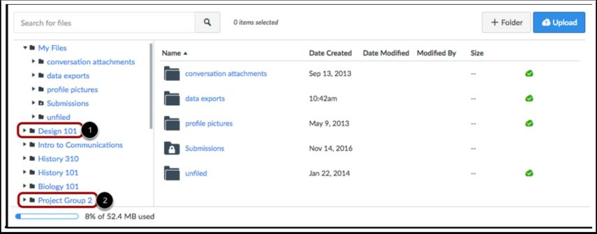 Visualizar Arquivos de Curso e Arquivos de Grupo