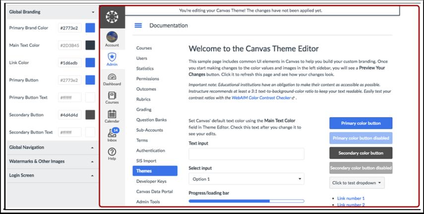 Visualizar o Editor de Temas