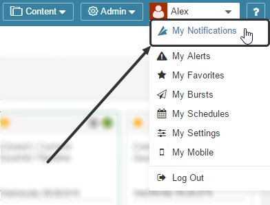 Access Notifications from the drop-down list under your Name