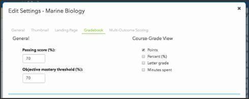 Gradebook tab