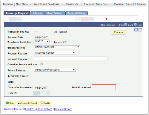 Transcript Requests tab. Date Processed section highlighted