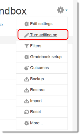 Click on Turn editing on
