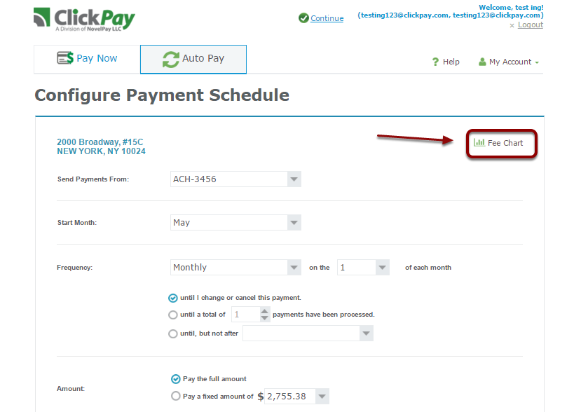 "Depending upon your payment method and your property manager's fee structure, fees may apply to each auto payment transaction. You can determine if fees apply to your auto payments by clicking on the ""Fee chart"" in the auto payment section"