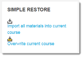 Simple Restore block as seen from the course main page