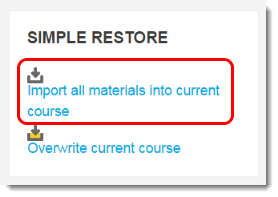 Simple restore block has two choices