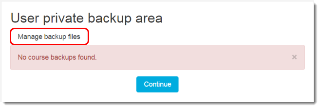 Click on Manage backup files
