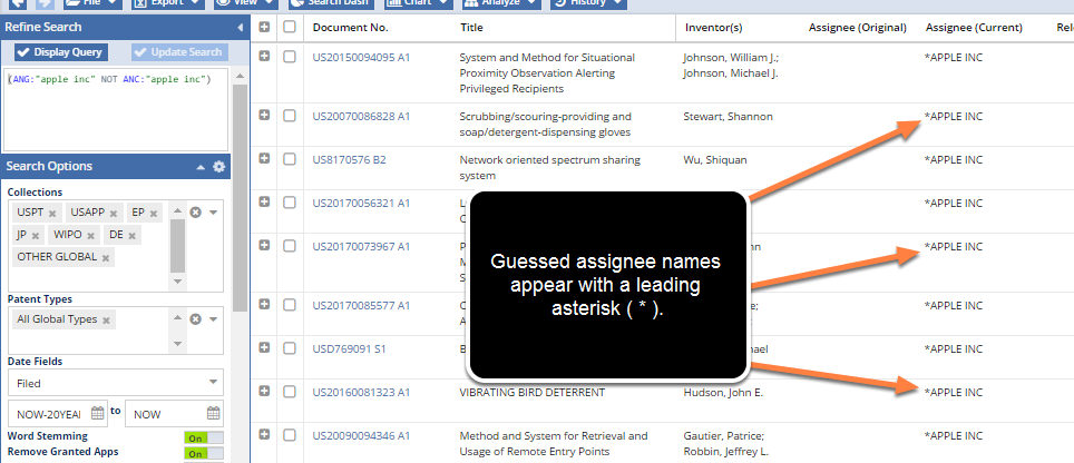 Guessed Assignee Names Appear with an Asterisk ( * )