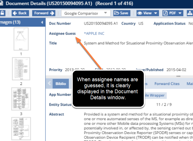 Guessed Assignee Names on the Document Details Window