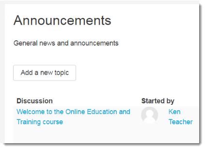 Screenshot of the News Forum block