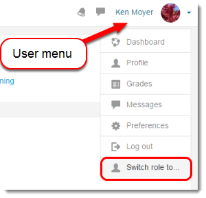 User menu is selected.