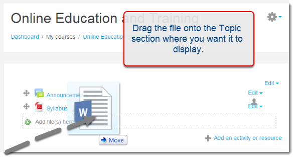 Drag your file to course main page.