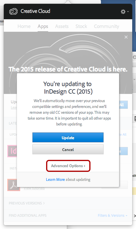 How to keep the old version(s) of your CC apps when performing an