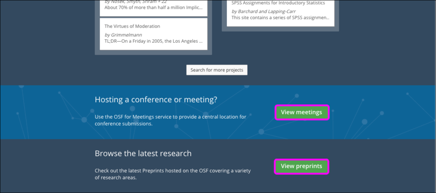 Preregister, View Meetings, and View Preprints