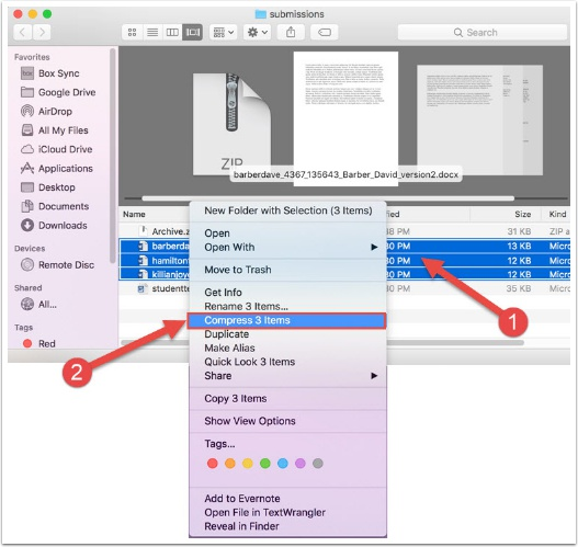 screenshot of how to create a zip folder in Mac