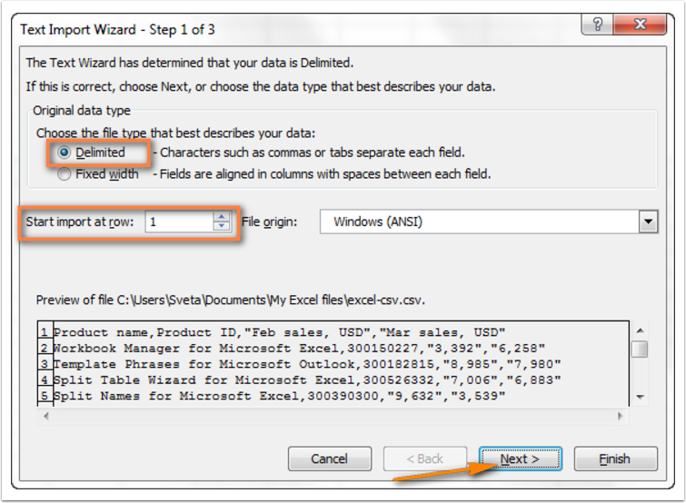 Text Import Wizard - Step 1 of 3