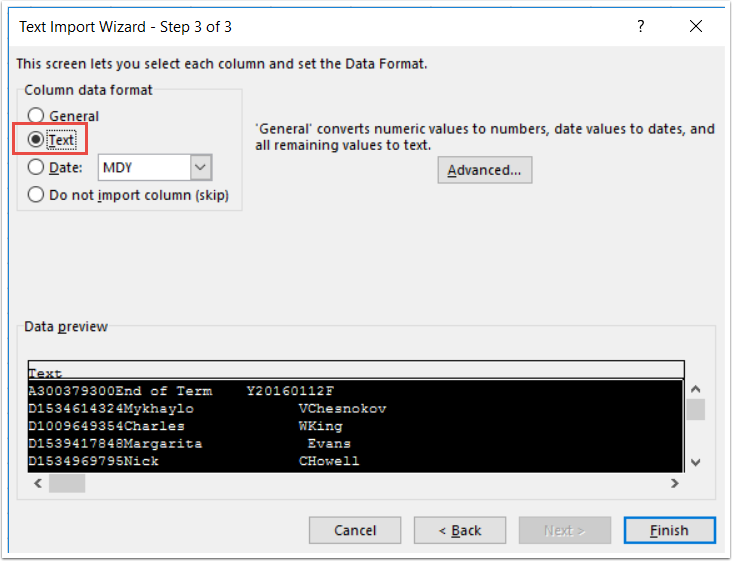 Text Import Wizard - Step 3 of 3