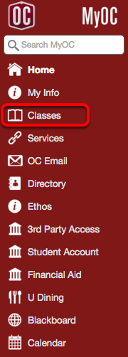 "On the left hand menu, click ""Classes""."