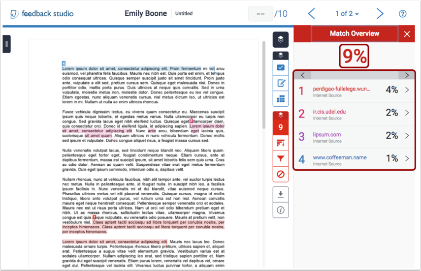 View turnitin report