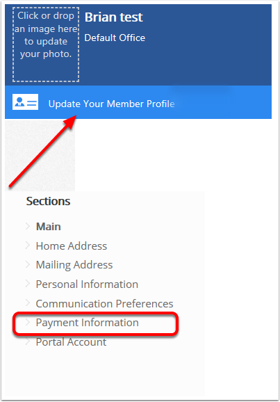On the portal click Update Your Member Profile and select Payment Information