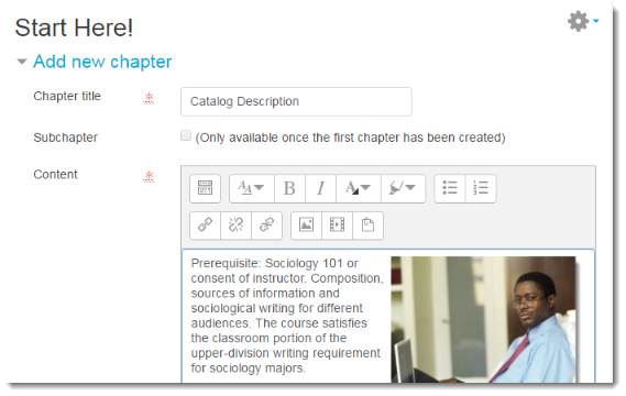 Type a Chapter title and add content.