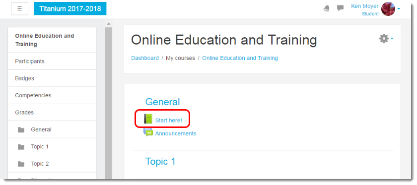 Viewing the course main page as a Student, click on the Book link.
