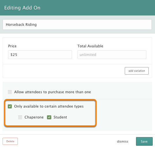 Assigning Add-Ons, Questions, and Discounts