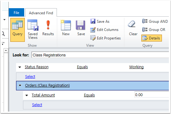 Do an Advanced Find for Class Registrations with a status reason of Working with $0.00 Orders.