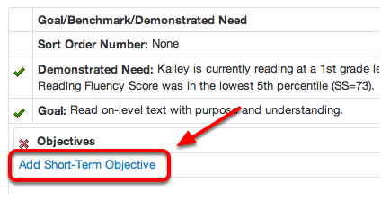 Add Short-Term Objectives