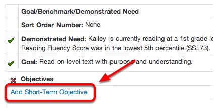 Add Short-Term Objectives