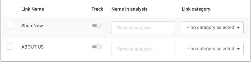 VCE link tracking settings