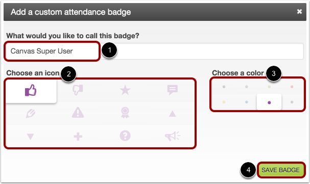 Add Custom Attendance Badge