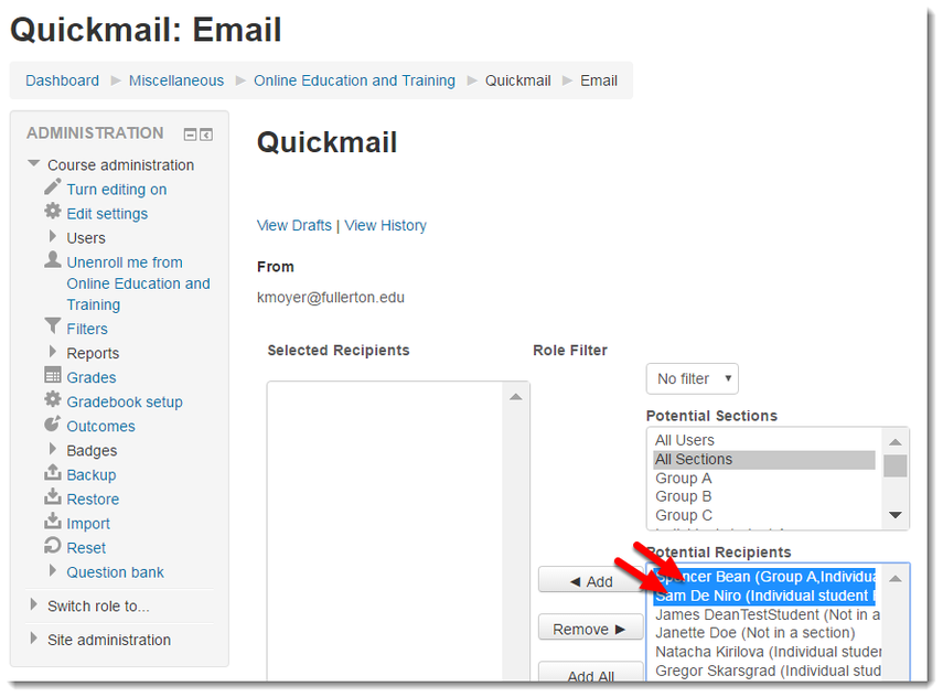 Select the users you want to email from the course list.