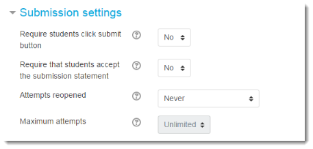 Set the Submission settings.