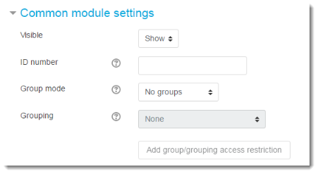 Set the Common module settings.