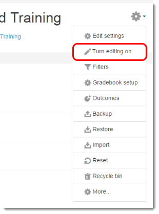 Turn editing on link is selected.
