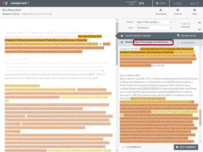 To view the source web page in a new window, click on source link in the text comparison view.
