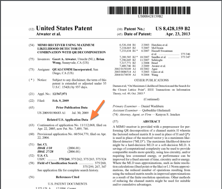 Parent Case Data on the Patent PDF