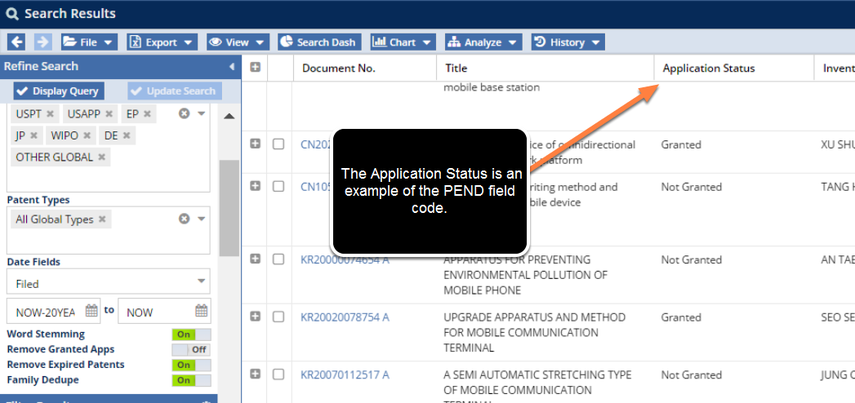PEND in the Search Result Grid