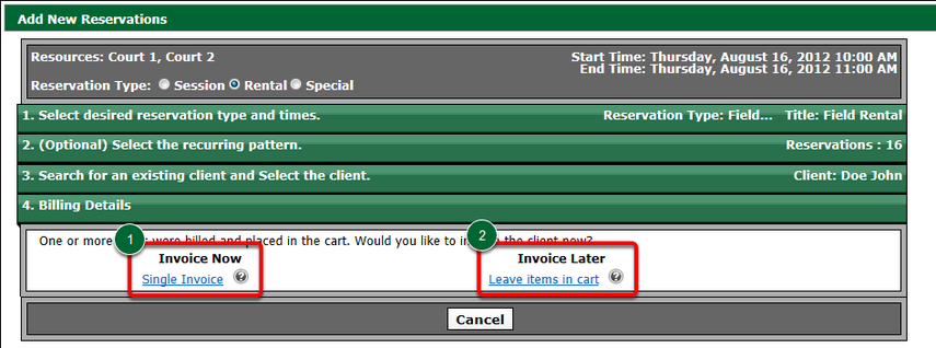 Invoice the Rental