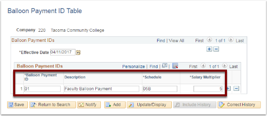 Balloon Payment IDs section