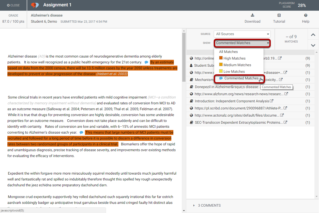 Filter the report view to highlight only commented sentences.
