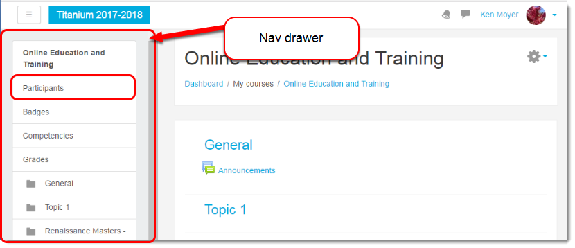 Click on Participants in the Nav drawer.