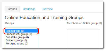 Select the group to which you want to add participants.