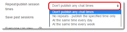 Choose Repeat/publish session times settings.