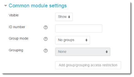 Select groups and grouping options.